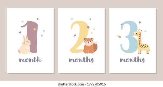 Cute baby month anniversary card with numbers and animals, one, two and three months, vector illustration