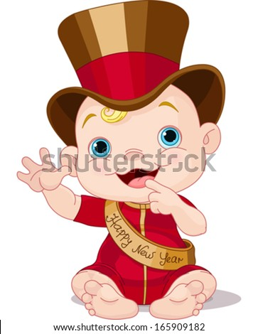 cute baby new year with top hat