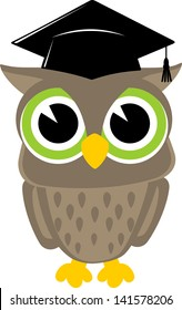 cute baby owl cartoon wearing a mortarboard isolsted on white background