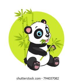 Cute Baby Panda Bear In Bamboo Forest Vector Image. Cartoon Panda Eats Bamboo Branch Vector Illustration.