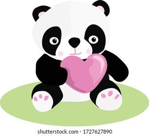 Cute Baby Panda Bear with heart Drawing Vector Illustration