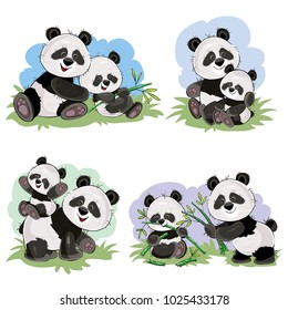 Cute baby panda bear and its mother playing on grass, eating bamboo stems and leaves, vector cartoon illustration. Wild animal funny characters for kids books, t-shirt print, cards, posters for zoo