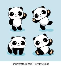 Cute Baby Panda Cartoon Illustrations Set Collections