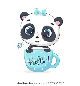 Cute baby panda in cup. Vector illustration for baby shower, greeting card, party invitation, fashion clothes t-shirt print.