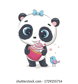 Cute baby panda with cupcake and bird. Vector illustration for baby shower, greeting card, party invitation, fashion clothes t-shirt print.
