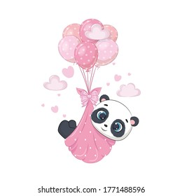 Cute baby panda in diapers on the balloons