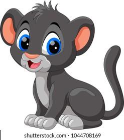 Cute baby panther cartoon