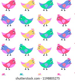 Cute baby pattern with birds.Vector background.