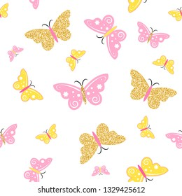 Cute baby pattern with glittering golden and pink butterflies, isolated on white. Little princess texture. Vector.