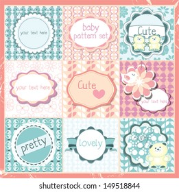 Cute baby patterns frames and labels set