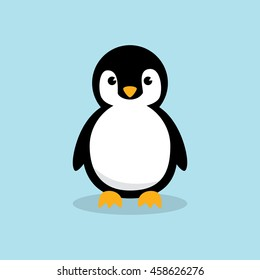Cute Baby Penguin standing on sky blue background flat design vector illustration.