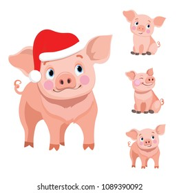 Cute baby pig cartoon, vector illustration isolated on white background