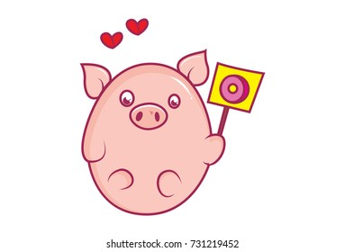Cute Baby Pig Character feeling Loved. Vector Illustration. isolated on white background.