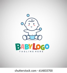 Cute Baby Playing Ball for Logo vector Template with colorfull text for Baby Shop, Maternity store and Business company logo. Vector Illustration eps.10
