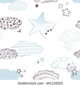 Cute baby print, background with stars, clouds. Vintage Sky backdrop. Holiday background, seamless pattern with hand drawn stars. Magic design, Vector illustration.