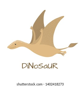 Cute baby pterodactyl dinosaur isolated on white background. Little dino for t-shirt, kids apparel, poster, nursery or etc. Vector Illustration.