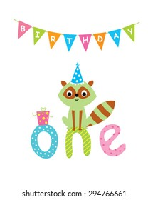 cute baby raccoon first birthday greeting card