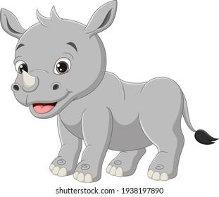 Cute baby rhino cartoon on white background