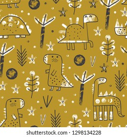 Cute baby seamless pattern with dinosaurus in forest. Creative vector childish background for fabric, textile, nursery wallpaper. Vector Illustration. Vintage style.