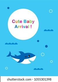 cute baby shark arrival greeting card vector
