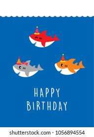 cute baby shark happy birthday greeting card vector.