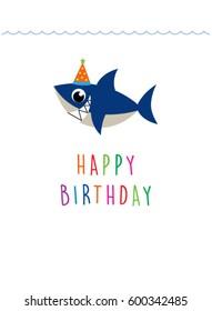 cute baby shark happy birthday greeting card
