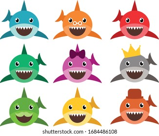 Cute baby sharks, shark, Set of the colorful family sharks, cartoon characters, Ocean fish, Illustration of a shark, Kids calligraphy background,  isolated on white background