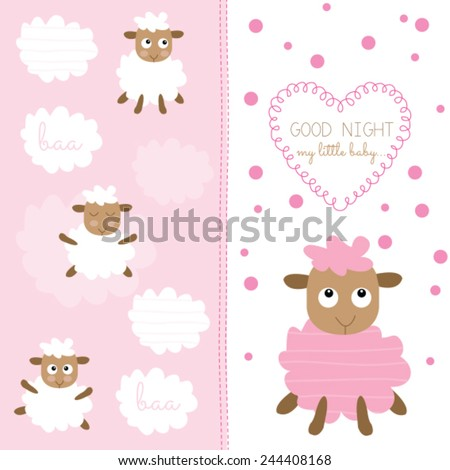 Cute Baby Sheep Vector Illustration Stock Vector Royalty Free