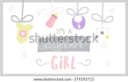 Cute Baby Shower Banner Girl Stock Vector Royalty Free 379293715