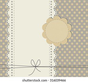 Cute baby shower card with copy space. Stylish background with lace frame and trendy texture. Vector image can be used for postcard, scrapbook, greeting card and invitation.