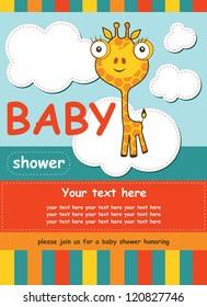 cute baby shower card with giraffe. vector illustration