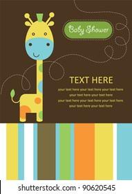 cute baby shower card with cute giraffe. vector illustration