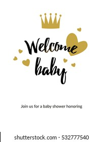 Cute baby shower card with the gold elements