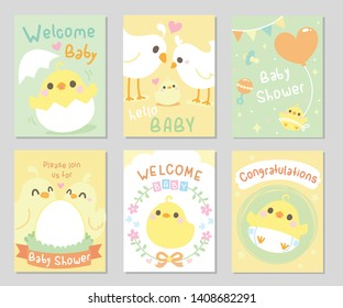 Cute baby shower card. Little Chicken / bird came out of an egg shell, together with parents. Neutral theme, for boy and girl. Set of rectangle card, gift tag. Soft pastel color. Vector illustration.