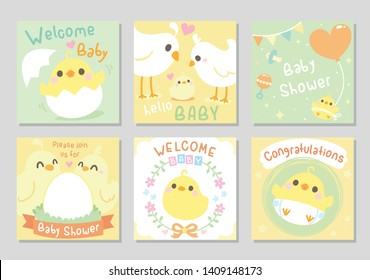 Cute baby shower card. Little Chicken / bird came out of an egg shell, together with parents. Neutral theme, for boy and girl. Set of square card, gift tag. Soft pastel color. Vector illustration.