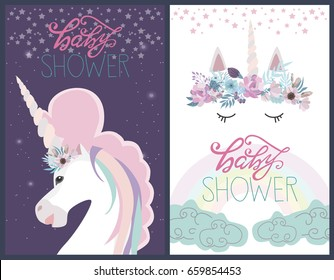 Cute Baby Shower card with unicorn. Vector illustration