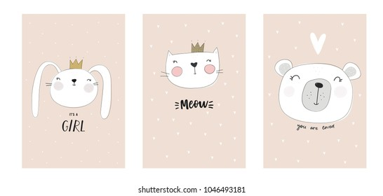 Cute baby shower cards with bunny