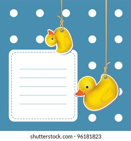 cute baby shower design. rubber duck on blue. mesh vector illustration.