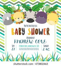 cute baby shower design. vector illustration. Jungle animals.