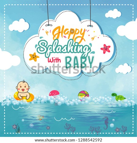 Cute Baby Shower Flyer Banner Design Stock Vector Royalty Free
