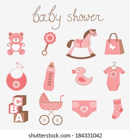 Cute baby shower girl collection
