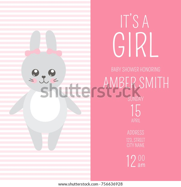 Cute Baby Shower Girl Invite Card Stock Vector (Royalty Free