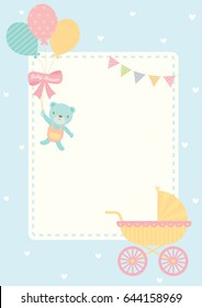 Cute baby shower greeting card for new born decorated with baby carriage and bear doll hold balloons on blue pastel color for background template.
