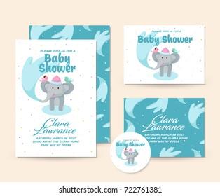 Cute Baby Shower Invitation Card - Elephant Shower