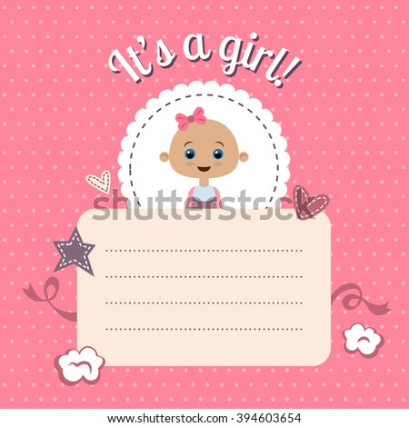 Cute Baby Shower Invitation Girl New Stock Vector (Royalty Free ...