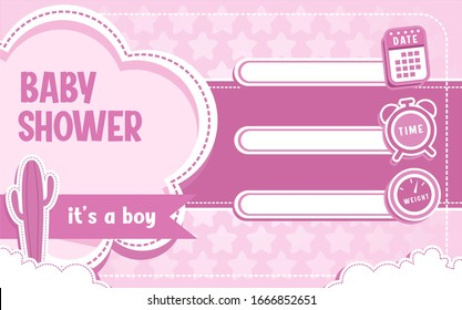 Cute baby shower pink theme with date, time and weight collumn. vector illustration