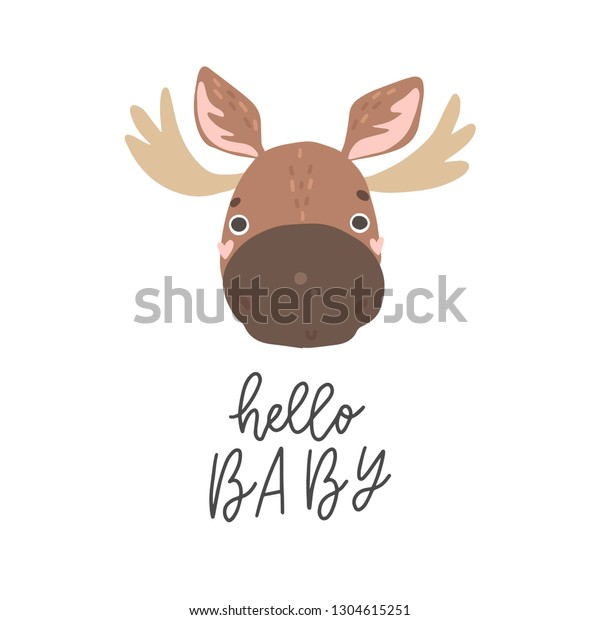 graphic relating to Moose Template Printable named Adorable Youngster Shower Poster Moose Printable Inventory Vector