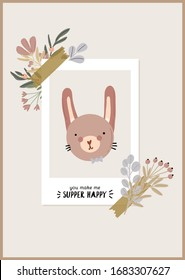 Cute baby shower in scandinavian style including flowers and funny animal decorative hand drawn elements. Cartoon doodle kids  illustration for nursery room decor, children design. Vector.