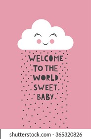 cute baby shower. vector illustration