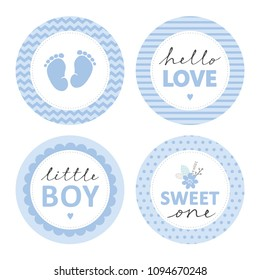 Cute Baby Shower Vector Sticker. Round Tags, Blue Color. Baby Feet in a Circle with Chevron. Little Boy. Hello Love in Striped Circle. Sweet One with Flower Bunch in a Circle with Dots. Tags Set.